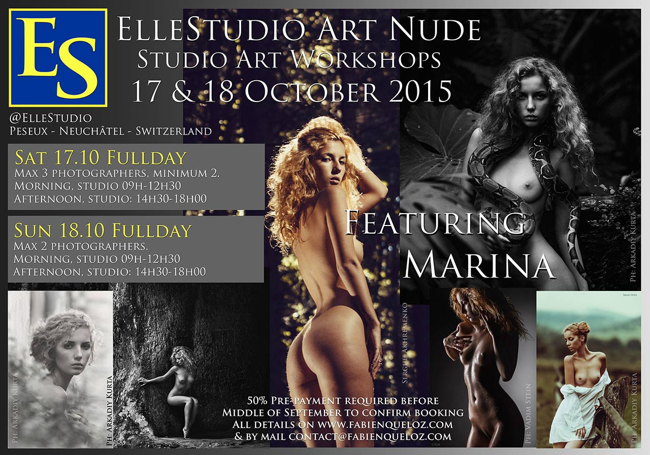 Fabien Queloz ElleStudio art nude workshops switzerland Neuchâtel, stage de nu artistique, topmodels, photomodels Ukraine